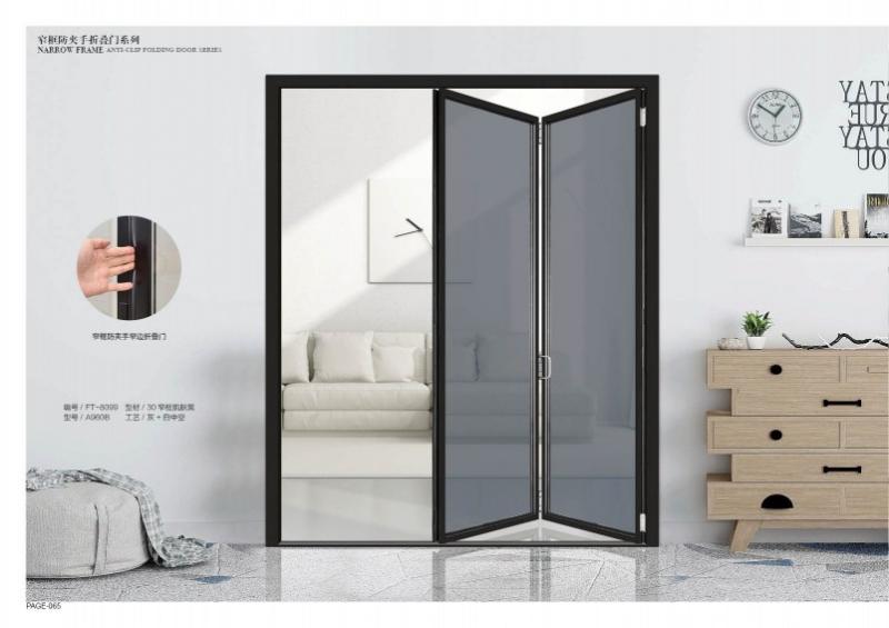 窄框防夹手折叠门